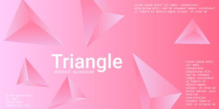 Abstract composition of  triangle. 3D vector illustration . Modern geometric background.  Pink  three-dimensional  geometric triangle in space. Illustration