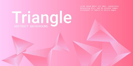 Triangle background. Abstract composition of triangular crystals. Futuristic geometric background.  3D vector illustration . Pink  three-dimensional  triangular crystals in space.