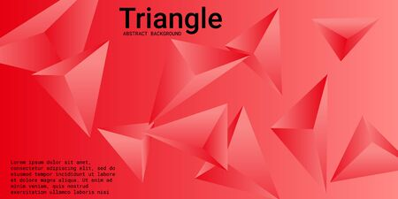 Triangular background. Abstract composition of 3d triangles. Futuristic geometric background.  3D vector illustration . Red  three-dimensional triangle in space.