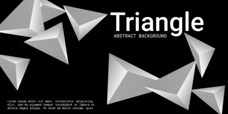 Abstract composition of  triangle. 3D vector illustration . Creative geometric background.  Metal  three-dimensional  geometric triangle in space.