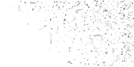 Silver confetti. Silver shine texture on a white background. Element of design. Silvery abstract textures are chaotically falling. Vector illustration, EPS 10.. 일러스트