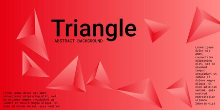 Abstract composition of  triangle. Futuristic geometric background.  3D vector illustration . Red  three-dimensional  geometric triangle in space. Illustration