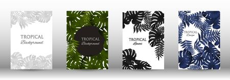 A set of tropical covers. Tropical leaves banners background. Exotic botanical design. Modern Front Page in Vector
