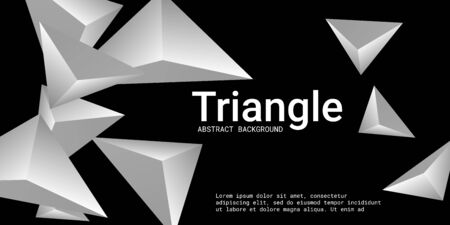Triangle background. Abstract composition of triangular pyramids. 3D vector illustration . Futuristic geometric background.  Metal  three-dimensional triangular pyramids in space. Illusztráció