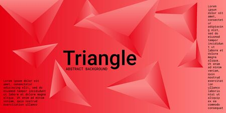 Triangle background. Abstract composition of triangular pyramids. Creative geometric background.  3D vector illustration . Red  three-dimensional triangular pyramids in space.
