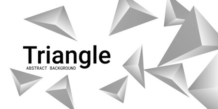 Triangle background. Abstract composition of triangular crystals. 3D vector illustration . Modern geometric background.  Silver  three-dimensional  triangular crystals in space.