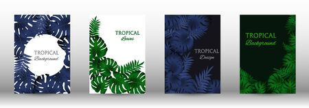 Tropic covers set.  Tropical leaves banners background. Exotic botanical design. Modern Front Page in Vector Ilustrace