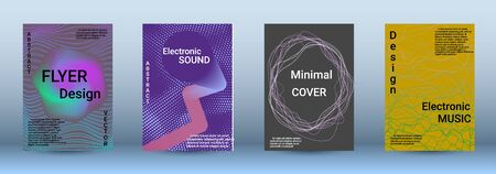 Cover design. The minimum coverage of the vector. Set of modern abstract musical backgrounds. Sound flyer for creating a fashionable abstract cover, banner, poster, booklet. Illusztráció