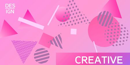 Futuristic retro 3D geometric design.  Minimal universal banner templates in memphis style. Minimalistic pink background design with dynamic shapes. Vector illustration.