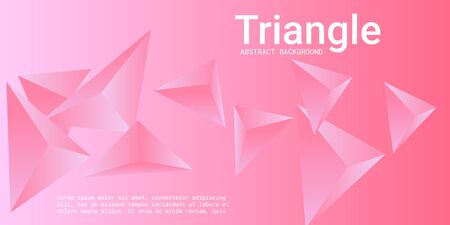 Triangle background. Abstract composition of triangular crystals. 3D vector illustration . Futuristic geometric background.  Pink  three-dimensional  triangular crystals in space. Illustration