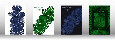 A set of tropical covers. Colorful tropical leaves patterns. Summer graphic background. Modern Front Page in Vector Illusztráció