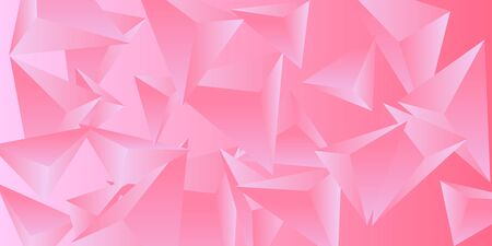 Triangle background. Abstract composition of triangular pyramids. Modern geometric background.  3D vector illustration . Pink  three-dimensional triangular pyramids in space. Illusztráció