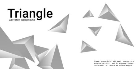 Triangle background. Abstract composition of triangular pyramids. Minimal geometric background.  3D vector illustration . Silver  three-dimensional triangular pyramids in space.