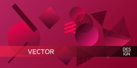Futuristic retro 3D geometric design.  Minimal universal banner templates in memphis style. Minimalistic red background design with dynamic shapes. Vector illustration.