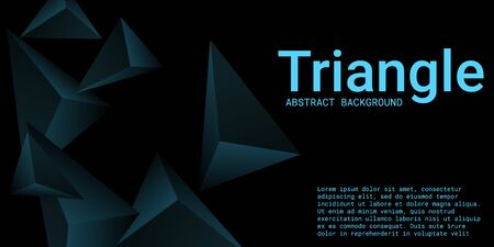 Abstract composition of  triangle. 3D vector illustration . Creative geometric background.  Turquoise  three-dimensional  geometric triangle in space.