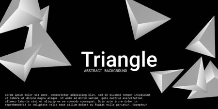Triangular background. Abstract composition of 3d triangles. 3D vector illustration . Modern geometric background.  Metal  three-dimensional triangle in space.