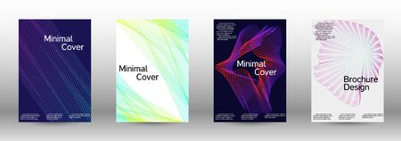 Electronic music festival poster. Cover design template set of a with abstract gradient linear waves. Fashionable style. The background with is suitable for creating a banner, poster,  catalog.