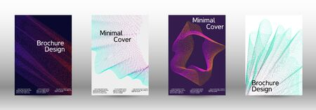 Electronic music festival poster. Cover design template set of a with abstract gradient linear waves. Sound flyer for creating a fashionable abstract cover, banner, poster, booklet. Иллюстрация
