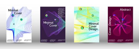 Minimum coverage of the vector. Cover design.  A set of modern abstract oblong objects from vector abstract lines. Иллюстрация