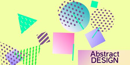 Geometric yellow abstract background with trendy isometric shapes. Minimal universal banner templates in memphis style. Dynamic composition. Vector illustration.  イラスト・ベクター素材
