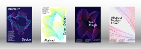 Electronic music festival poster. A set of modern abstract backgrounds with abstract gradient linear waves. Vector sound flyer for creating a fashionable abstract cover, banner, poster, booklet.