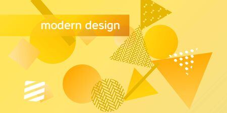 Futuristic retro 3D geometric design.  Minimal universal banner templates in memphis style. Minimalistic yellow background design with dynamic shapes. Vector illustration.  イラスト・ベクター素材