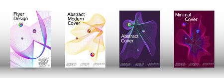 The minimal geometric coverage. Cover design.  A set of modern abstract oblong objects from vector abstract lines. Иллюстрация