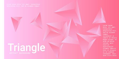Triangular background. Abstract composition of 3d triangles. Futuristic geometric background.  3D vector illustration . Pink  three-dimensional triangle in space.