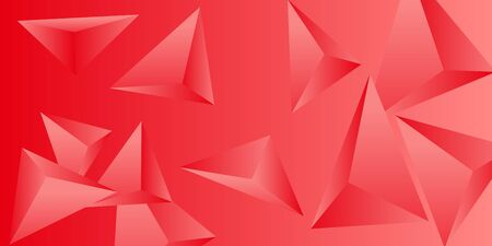 Triangle background. Abstract composition of triangular pyramids. 3D vector illustration . Minimal geometric background.  Red  three-dimensional triangular pyramids in space. Illustration