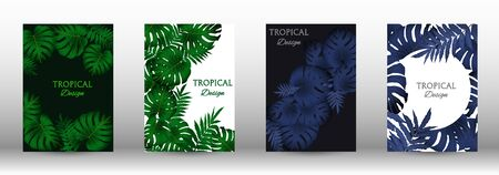 Tropic covers set.  Tropical leaves banners background. Summer graphic background. Modern Front Page in Vector Ilustrace