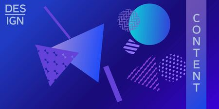Futuristic retro 3D geometric design.  Minimal universal banner templates in memphis style. Minimalistic blue background design with dynamic shapes. Vector illustration.