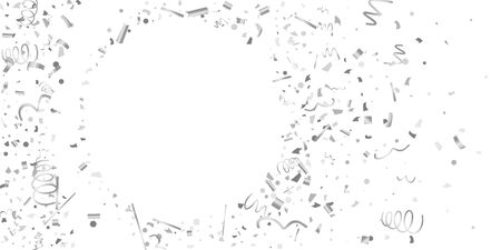 Silver confetti. Silver shine texture on a white background. Element of design. Silvery abstract textures are chaotically falling.