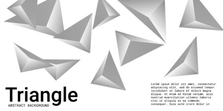 Abstract composition of  triangle. 3D vector illustration . Creative geometric background.  Silver  three-dimensional  geometric triangle in space. Illustration