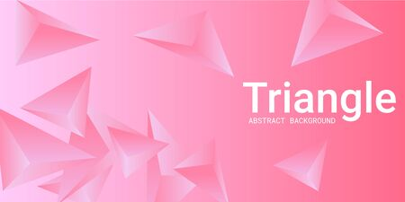 Triangle background. Abstract composition of triangular crystals. 3D vector illustration . Minimal geometric background.  Pink  three-dimensional  triangular crystals in space.