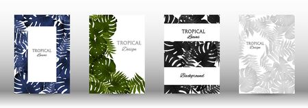 Tropic covers set.  Colorful tropical leaves patterns. Exotic botanical design. Modern Front Page in Vector Ilustrace