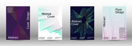 Electronic music festival poster. A set of modern abstract backgrounds with abstract gradient linear waves. Иллюстрация