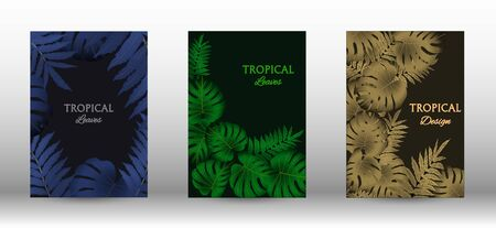 Tropic covers set.  Colorful tropical leaves patterns. Summer graphic background. Modern Front Page in Vector
