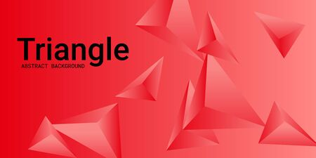 Triangle background. Abstract composition of triangular pyramids. 3D vector illustration . Futuristic geometric background.  Red  three-dimensional triangular pyramids in space.