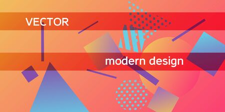 Geometric abstract background with trendy isometric shapes. Minimal universal banner templates in memphis style. Dynamic composition. Vector illustration.