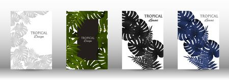 A set of tropical covers. Colorful tropical leaves patterns. Summer graphic background. Modern Front Page in Vector Ilustrace