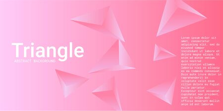 Triangular background. Abstract composition of 3d triangles. 3D vector illustration . Futuristic geometric background.  Pink  three-dimensional triangle in space.