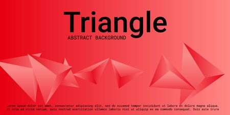 Triangle background. Abstract composition of triangular crystals. 3D vector illustration . Minimal geometric background.  Red  three-dimensional  triangular crystals in space.