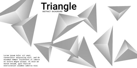 Triangular background. Abstract composition of 3d triangles. 3D vector illustration . Futuristic geometric background.  Silver  three-dimensional triangle in space.