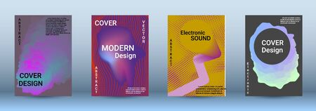 Cover design. The minimum coverage of the vector. Set of modern abstract musical backgrounds. Sound flyer for creating a fashionable abstract cover, banner, poster, booklet. Illustration