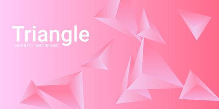Triangular background. Abstract composition of 3d triangles. 3D vector illustration . Modern geometric background.  Pink  three-dimensional triangle in space.