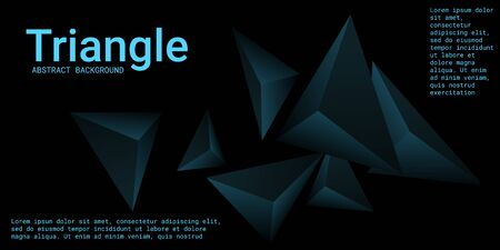Triangle background. Abstract composition of triangular crystals. 3D vector illustration . Creative geometric background.  Turquoise  three-dimensional  triangular crystals in space.