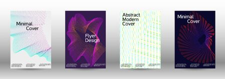 Minimum coverage of a vector. Cover design template set of a with abstract gradient linear waves. Fashionable style.