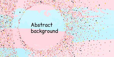 Multicolored confetti dots on a striped background. The concept of festive decoration. Fashionable color concept.