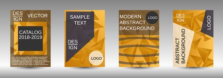 Minimum vector coverage. A set of modern abstract covers. Creative yellow triangle element vector. Geometric booklet cover template design.