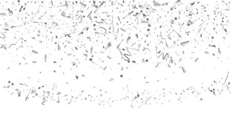 Silver confetti. Silver shine texture on a white background. Element of design. Silvery abstract textures are chaotically falling. Vector illustration, EPS 10.. Иллюстрация